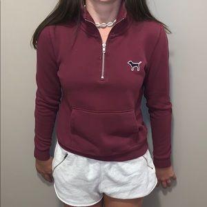 maroon victoria secret pint half zip sweatshirt